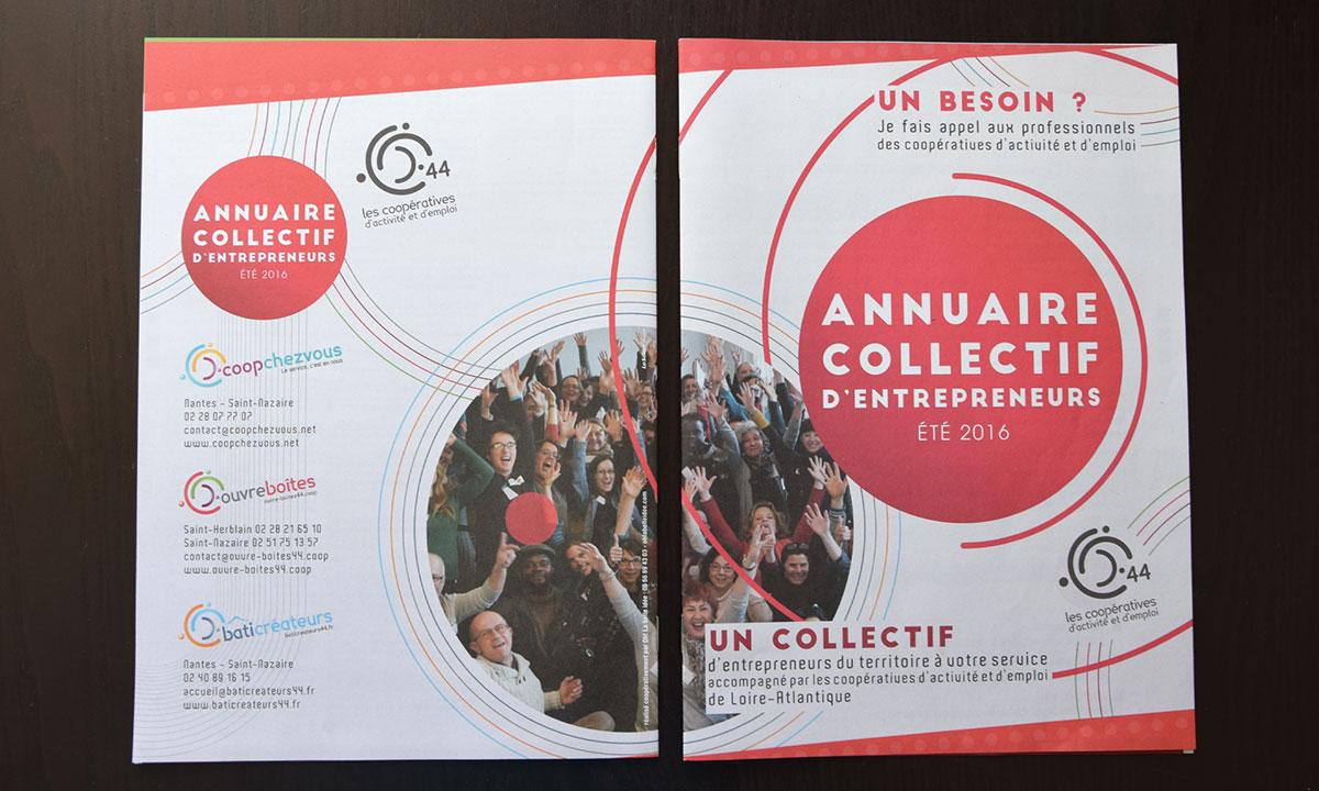 Photographie de la 1ère et de la 4ème de couverture de l'annuaire collectif d'entrepreneurs des Coopératives d'Activité et d'Emploi 44.