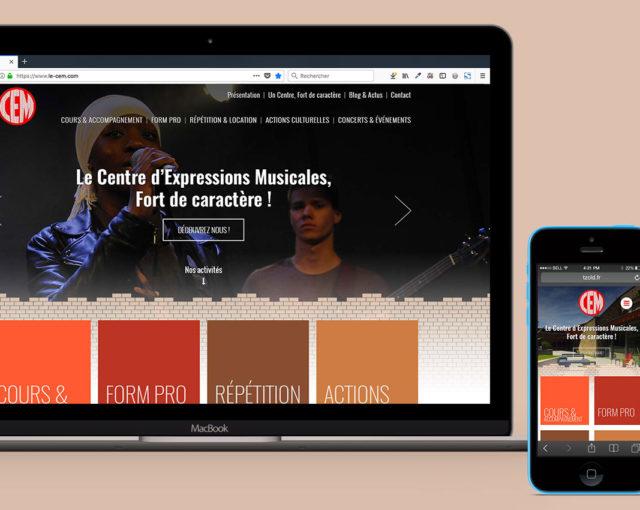 Présentation de la page d'Accueil du nouveau du CEM sur ordinateur et smartphone