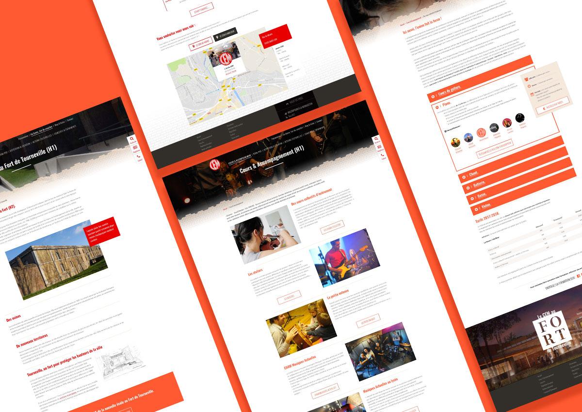Planche de pages intérieures du nouveau site web du CEM