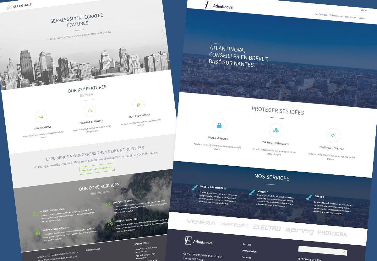 Atlantinova Comparaison thème WordPress et Maquette personnalisée