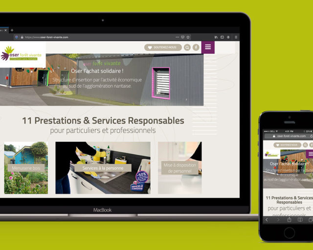 Affichage de la page d'Accueil d'Oser Forêt Vivante sur ordinateur et smartphone