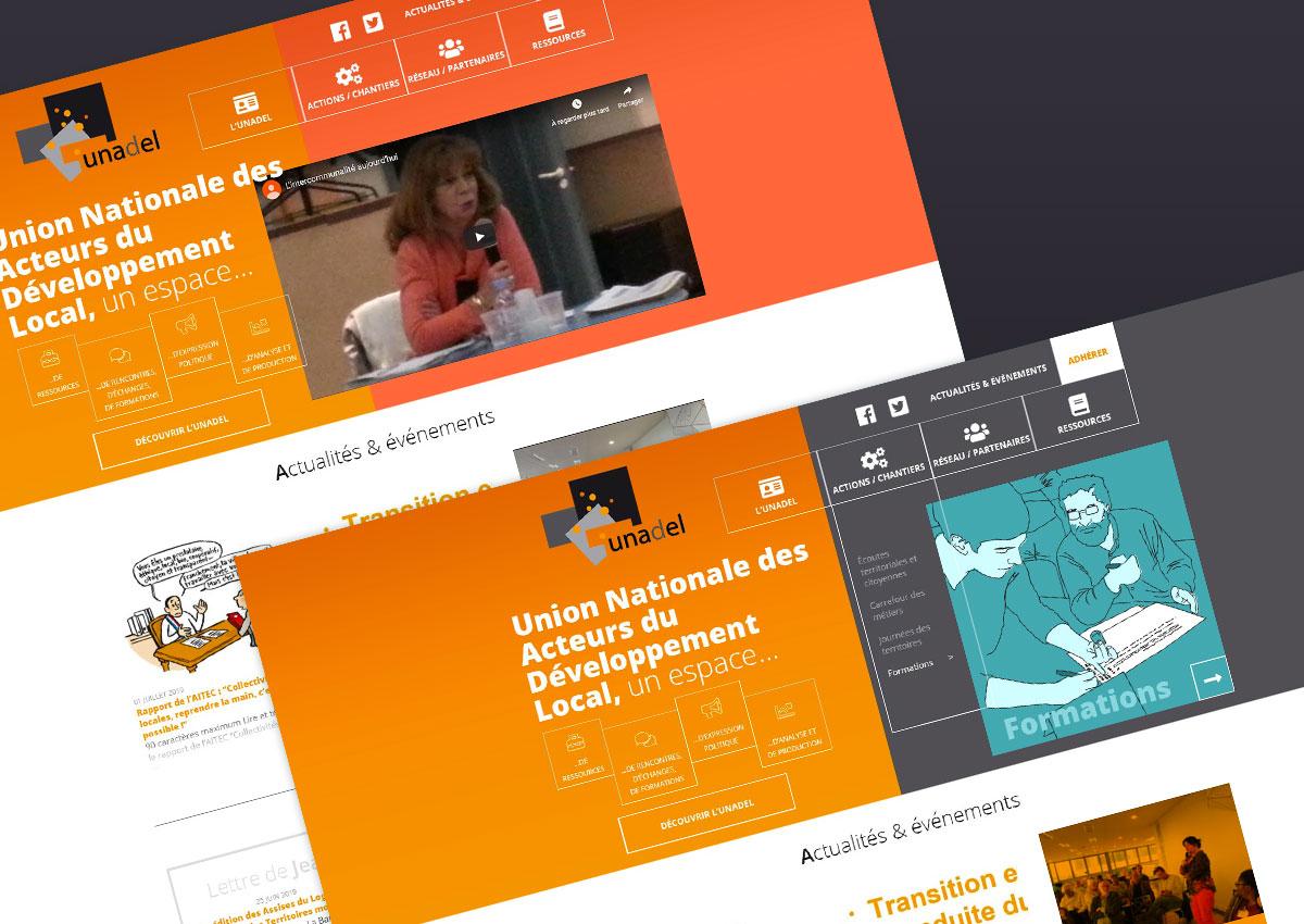 Présentation de 2 affichages d'en-tête pour la page d'Accueil UNADEL