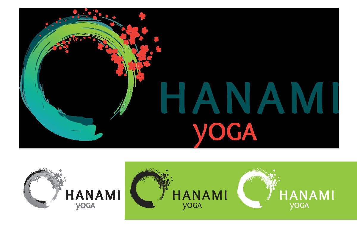Déclinaison du logo Hanami en niveaux de gris + N&B